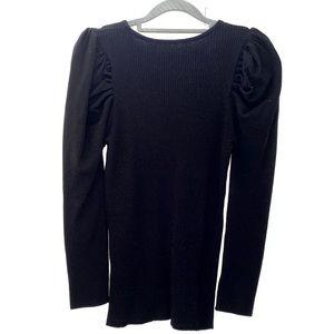 Puff Sleeve Open Back Sweater